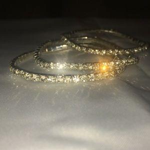 Three Sterling Silver/Cubic Zirconium Bracelets.